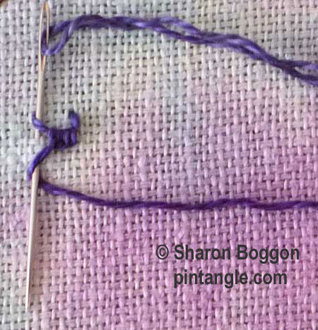 buttonholed double chain stitch step 4