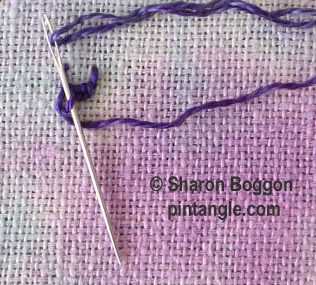 buttonholed double chain stitch step 5