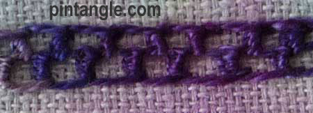 buttonholed double chain stitch step 8