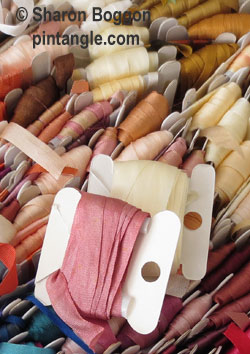 silk ribbon on bobbins