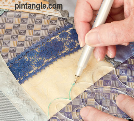 marking a seam using my Crazy Quilt Templates