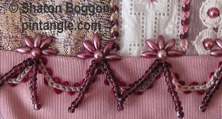 crazy quilt block seam embellishment detail