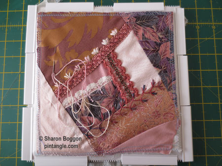 hand embroidery on crazy quilt block in progress