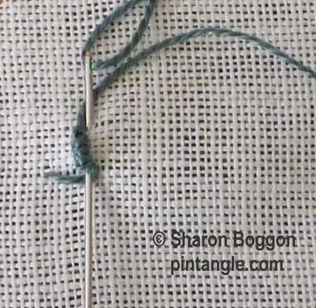 bullion buttonhole step 2