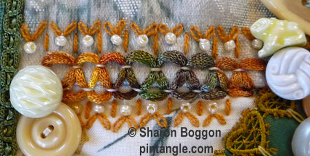 Crazy quilt hand embroidered seam detail