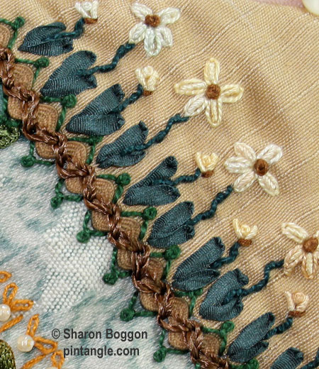 Crazy quilt hand embroidered seam detail with silk ribbon embroidery