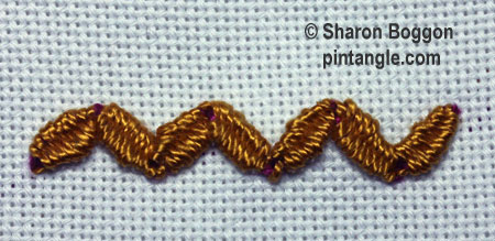 woven zigzag chain stitch step 7