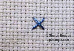 Woven cross stitch step 1