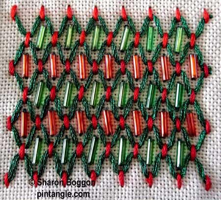 hand embroidery detail on needlework sampler
