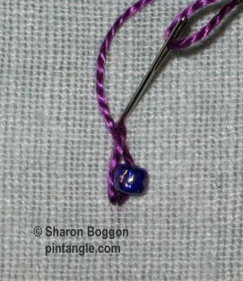 Twisted Satin Stitch with bead 2