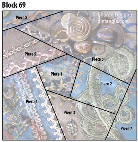 Crazy quilt block 69 diagram