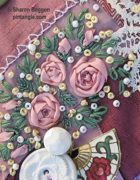 Crazy quilt seam embellishment detail 465