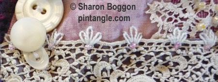 Crazy quilt seam embellishment detail