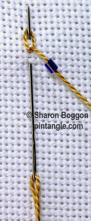 Beaded Linked Chain stitch step 2