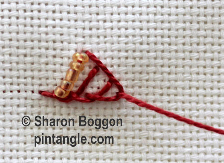 Beaded Triangular buttonhole 5