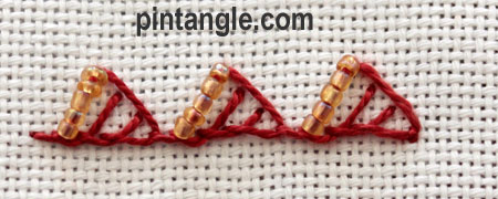 Beaded Triangular buttonhole 7