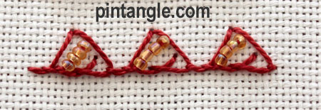 Beaded Triangular buttonhole 8