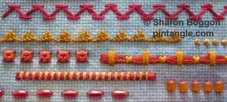 Freeform needlework Sampler detail