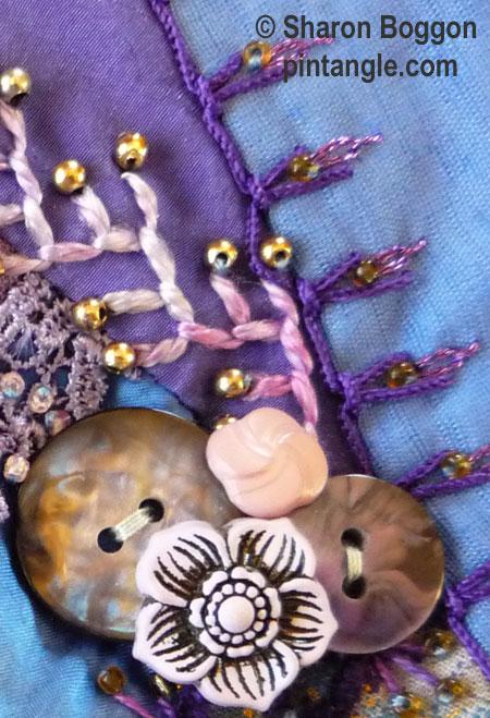 Crazy quilt seam detail