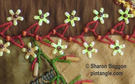 Beaded looped cretan stitch