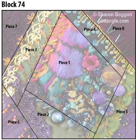Y2K Crazy quilt Block 74 diagram