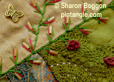 Buttonhole up and-down feather stitch on Block 40