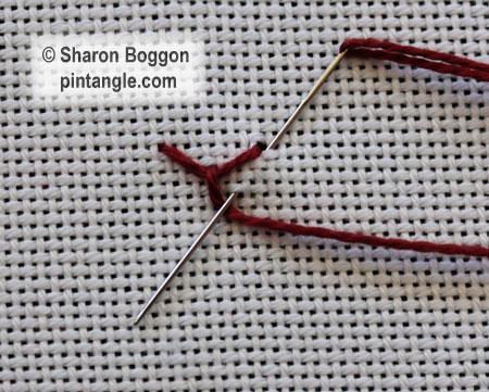 Beaded Looped Cretan stitch 2