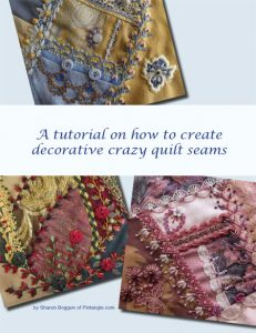 How to hand embroider crazy quilt seams free CQ tutorial ebook cover