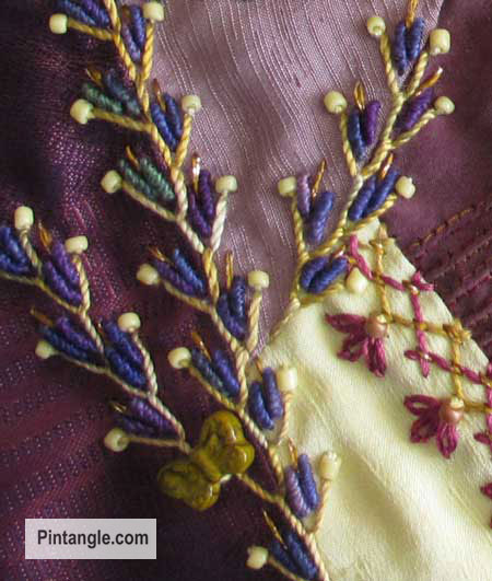 How to hand embroider crazy quilt seams feather stitch