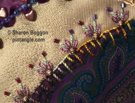 How to hand embroider crazy quilt seams-detached chain and buttonhole