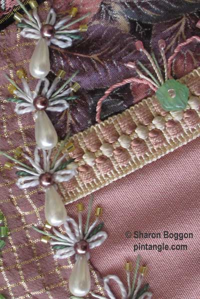 How to hand embroider crazy quilt seams-detached chain and beas
