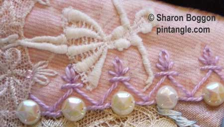 How to hand embroider crazy quilt seams-Chevron stitch