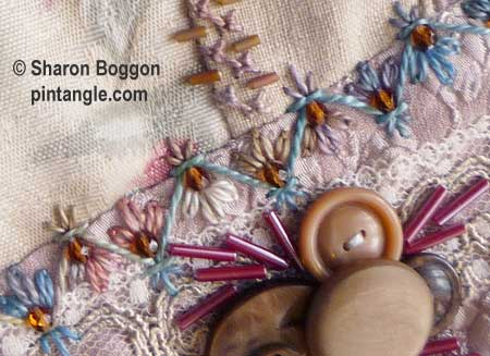 Chevron stitch -How to hand embroider crazy quilt seams