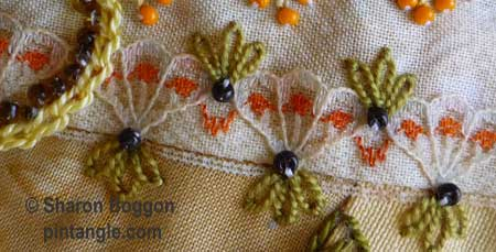 How to hand embroider crazy quilt seams-detached chain