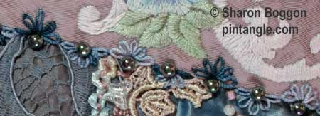 How to hand embroider crazy quilt seams-half detached chain daisies