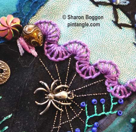 How to hand embroider crazy quilt seams-Half buttonhole wheels