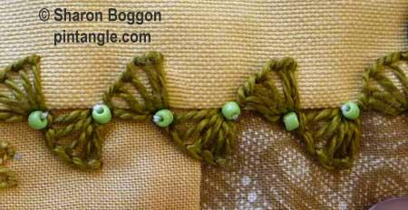How to hand embroider crazy quilt seams-quarter buttonhole wheels
