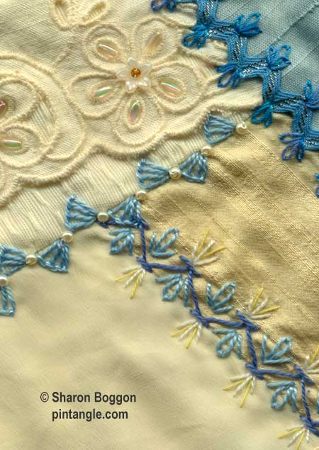 How to hand embroider crazy quilt seams-mixed crazy quilt stitches