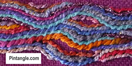 Twisted Chain rope stitch freeform sample