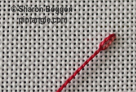 Beaded Feathered chain stitch step1