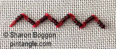 Beaded Feathered chain stitch step 6