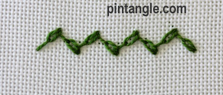 Feathered chain stitch step 6