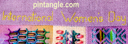 Detail on Hand Embroidery Needlework Sampler