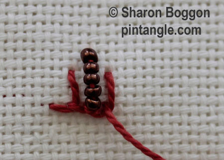 Beaded buttonhole step 3