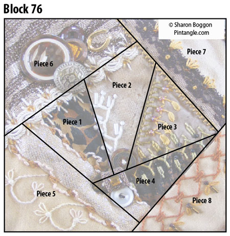 Crazy quilt Block 76 layout