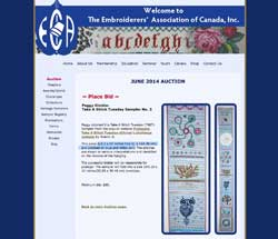 Auction of TAST sampler by the Embroiderers' Association of Canada