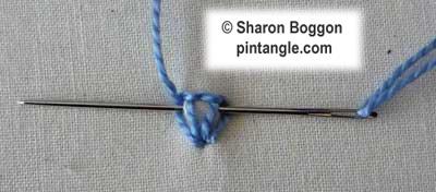 Step by step tutorial on how to work Kikos flower stitch 3