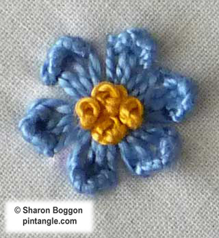 Step by step tutorial on how to work Kikos flower stitch 7