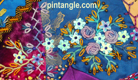 crazy quilt Pocket detail  3
