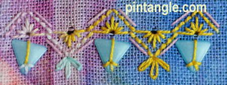 Freeform Hand Embroidery Sampler detail 686 and 687